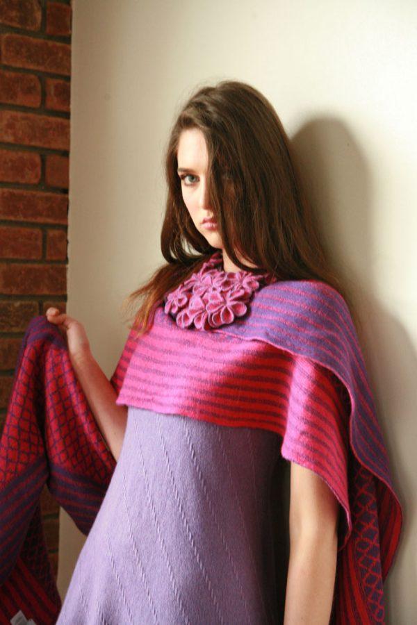 Over sized pattern striped scarf AC-SCF12-5 Linda Wilson Knitwear Irish Designer Limerick