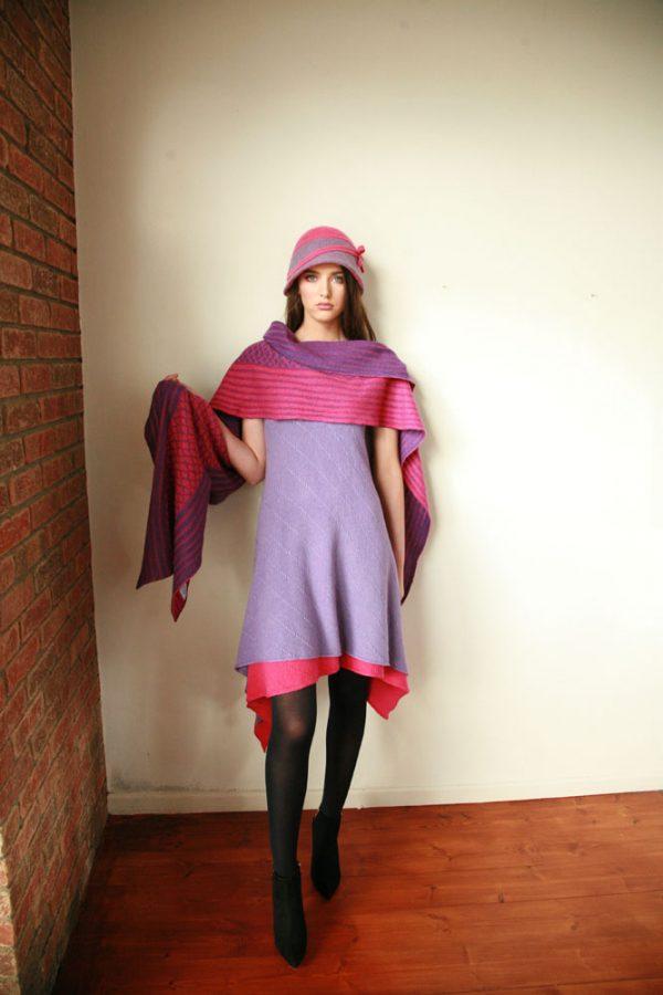 Over sized pattern striped scarf AC-SCF12-6 Linda Wilson Knitwear Irish Designer Limerick