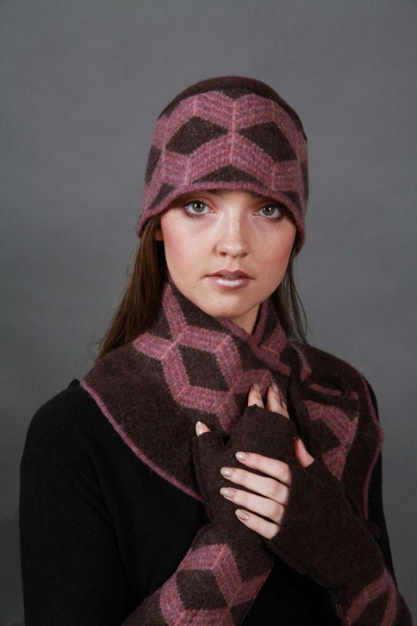 Patterned Hat HAT25 Linda Wilson Irish Knitwear Designer Limerick
