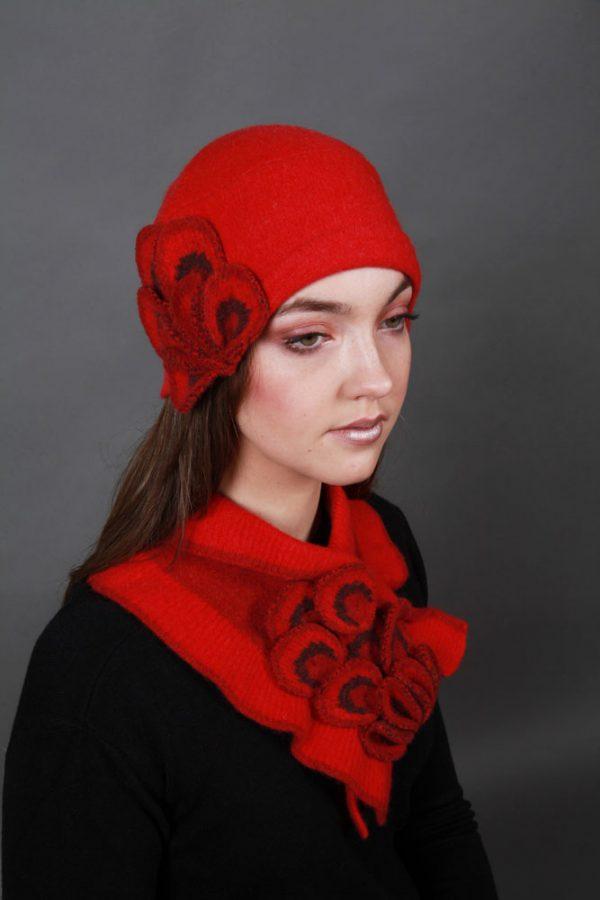 Petal Textured Hat HAT24-1 Linda Wilson Irish Knitwear Designer