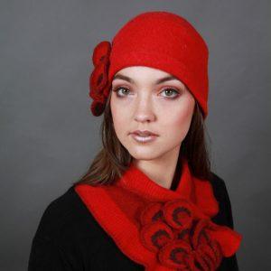 Petal Textured Hat HAT24-2 Linda Wilson Irish Knitwear Designer