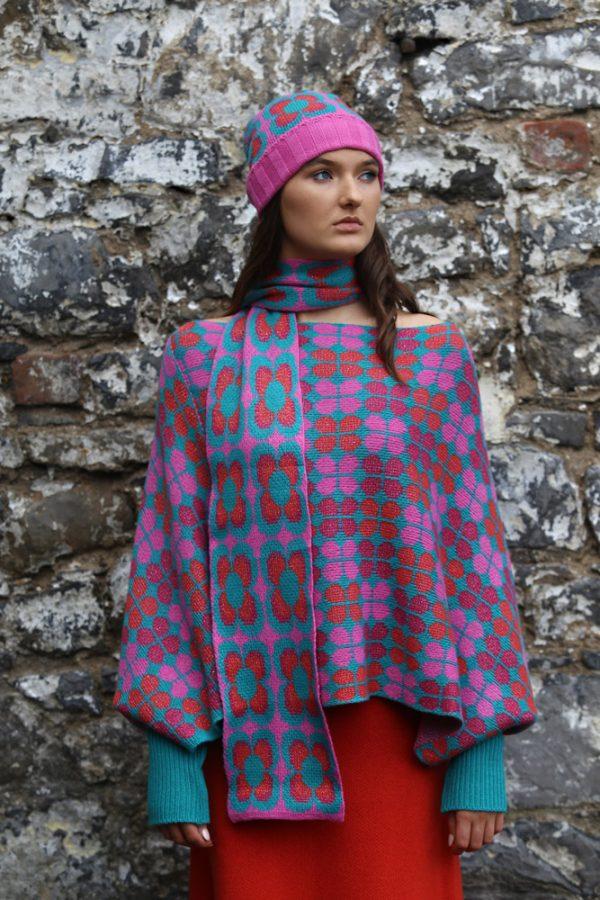 Retro Daisy Long Scarf 1 Linda Wilson Irish Knitwear Designer Limerick