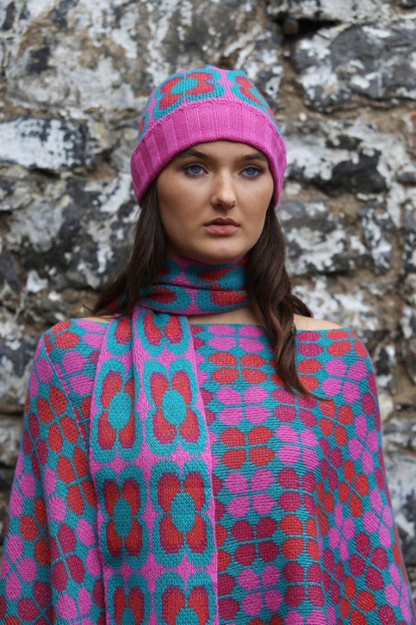 Retro Daisy Long Scarf 2 Linda Wilson Irish Knitwear Designer Limerick