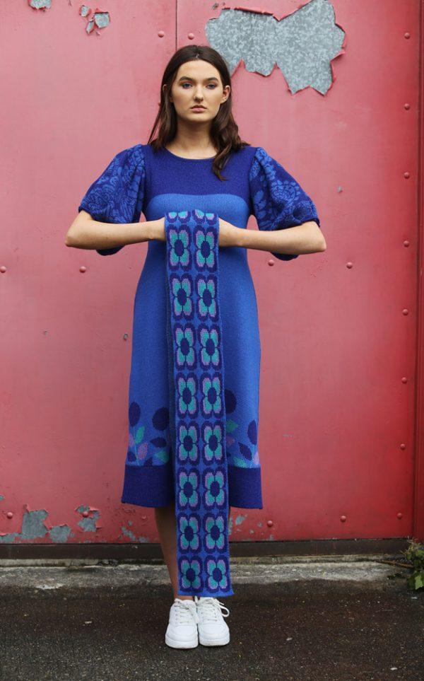 Retro Daisy Long Scarf 4 Linda Wilson Irish Knitwear Designer Limerick