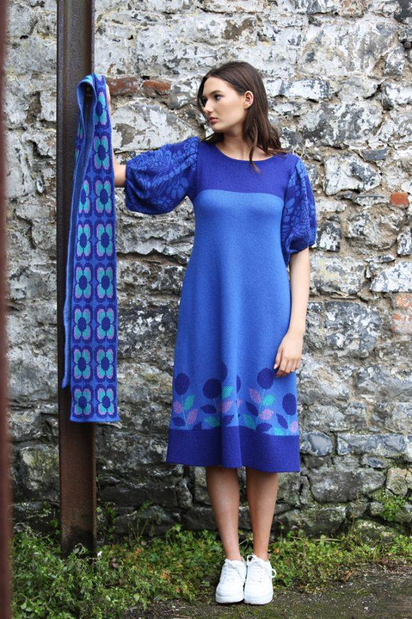 Retro Daisy Long Scarf 5 Linda Wilson Irish Knitwear Designer Limerick