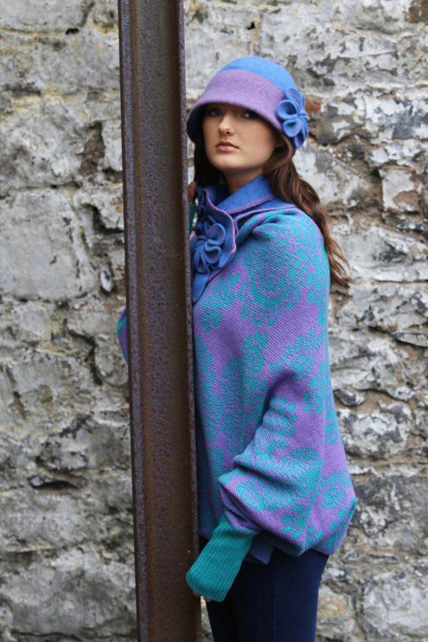 Retro Flower Deep Brim Hat 1 Linda Wilson Irish Knitwear Designer Limerick