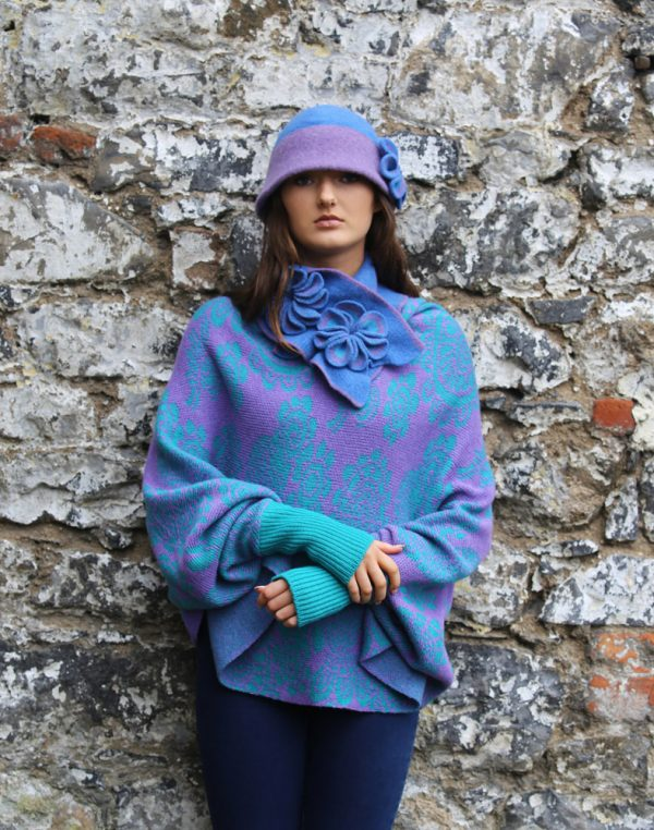 Retro Flower Deep Brim Hat 2 Linda Wilson Irish Knitwear Designer Limerick