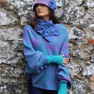 Retro Flower Deep Brim Hat 3 Linda Wilson Irish Knitwear Designer Limerick