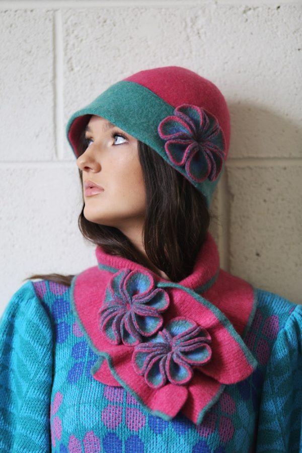 Retro Flower Deep Brim Hat 4 Linda Wilson Irish Knitwear Designer Limerick