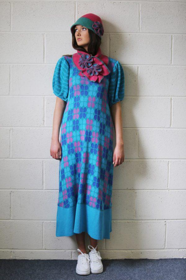 Retro Flower Deep Brim Hat 5 Linda Wilson Irish Knitwear Designer Limerick