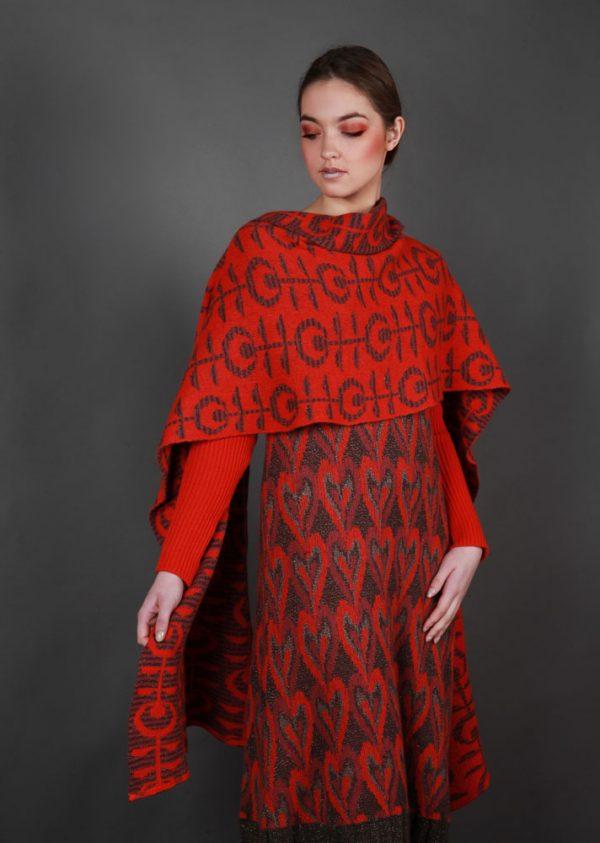 Retro Flower Patterned WRPSCF2c-1 Linda Wilson Irish Knitwear Designer Limerick