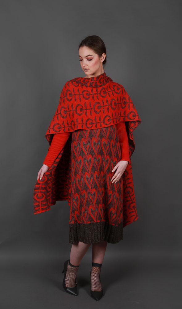Retro Flower Patterned WRPSCF2c-3 Linda Wilson Irish Knitwear Designer Limerick