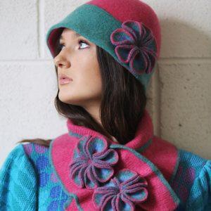 Retro Flower Scarf 1 Linda Wilson Irish Knitwear Designer Limerick