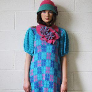 Retro Flower Scarf 2 Linda Wilson Irish Knitwear Designer Limerick