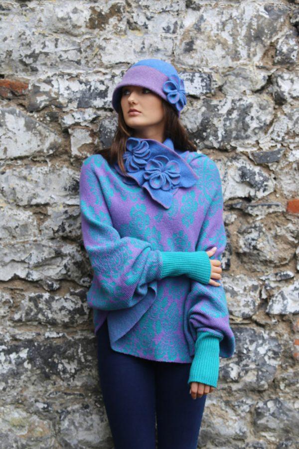 Retro Flower Scarf 3 Linda Wilson Irish Knitwear Designer Limerick