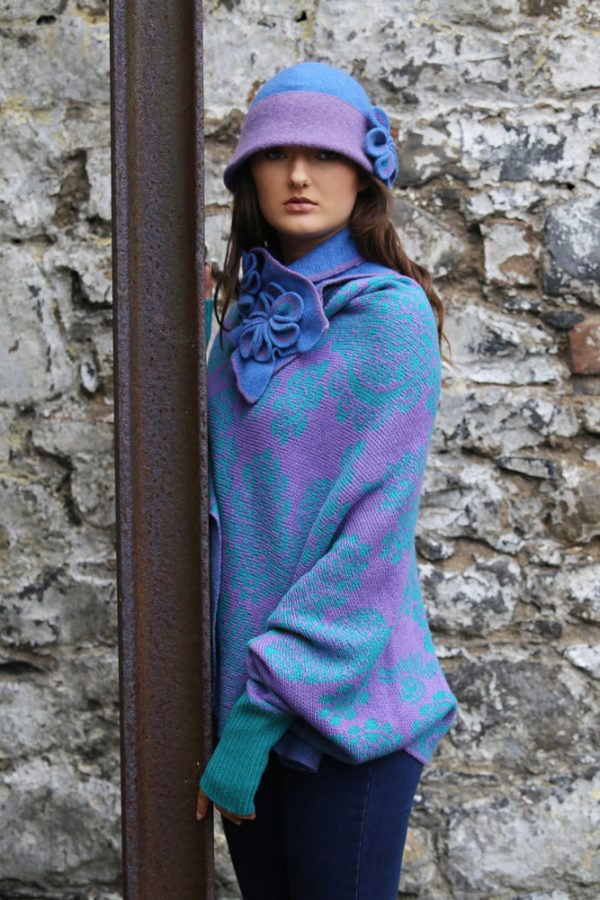Retro Flower Scarf 4 Linda Wilson Irish Knitwear Designer Limerick