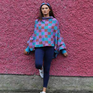 Retro Petal Draped Jumper 1 Linda Wilson Irish Knitwear Designer Limerick