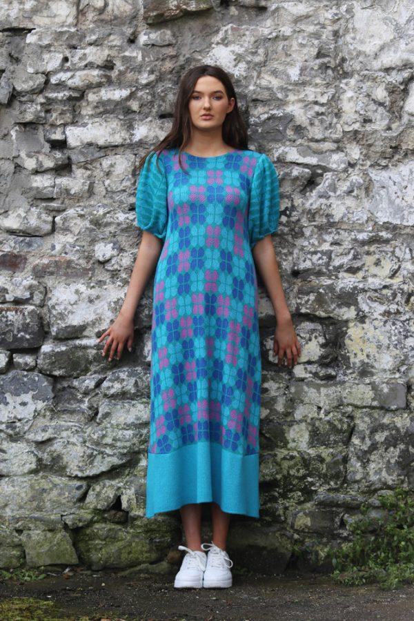 Retro Petal Dress 1 Linda Wilson Irish Knitwear Designer Limerick