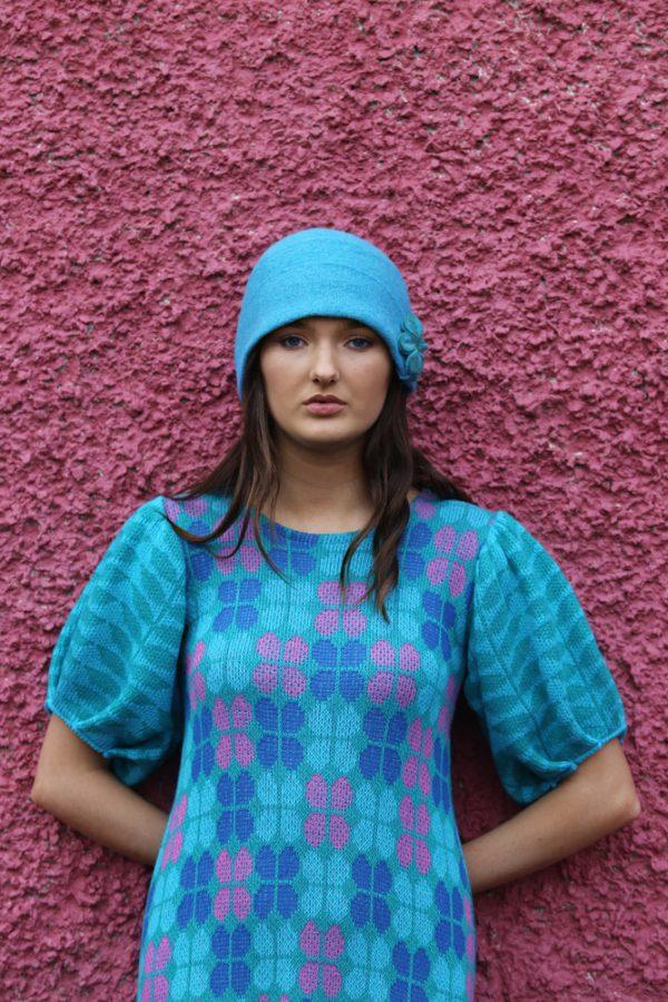 Retro Petal Dress 2 Linda Wilson Irish Knitwear Designer Limerick