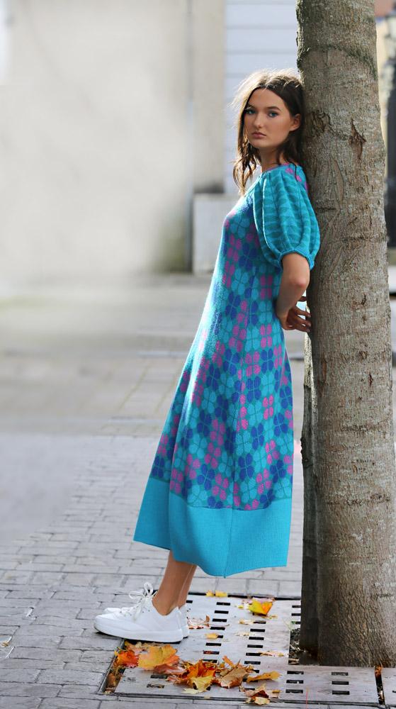 Retro Petal Dress 4 Linda Wilson Irish Knitwear Designer Limerick