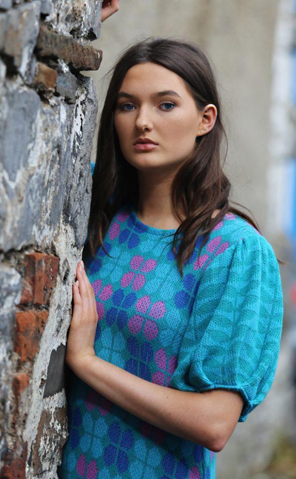 Retro Petal Dress 5 Linda Wilson Irish Knitwear Designer Limerick