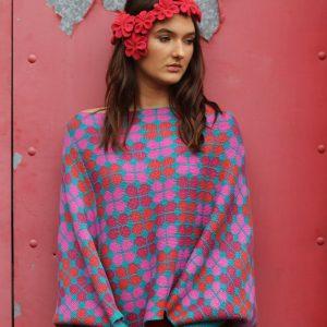Retro Petal Poncho Style Jumper 1 Linda Wilson Irish Knitwear Designer Limerick