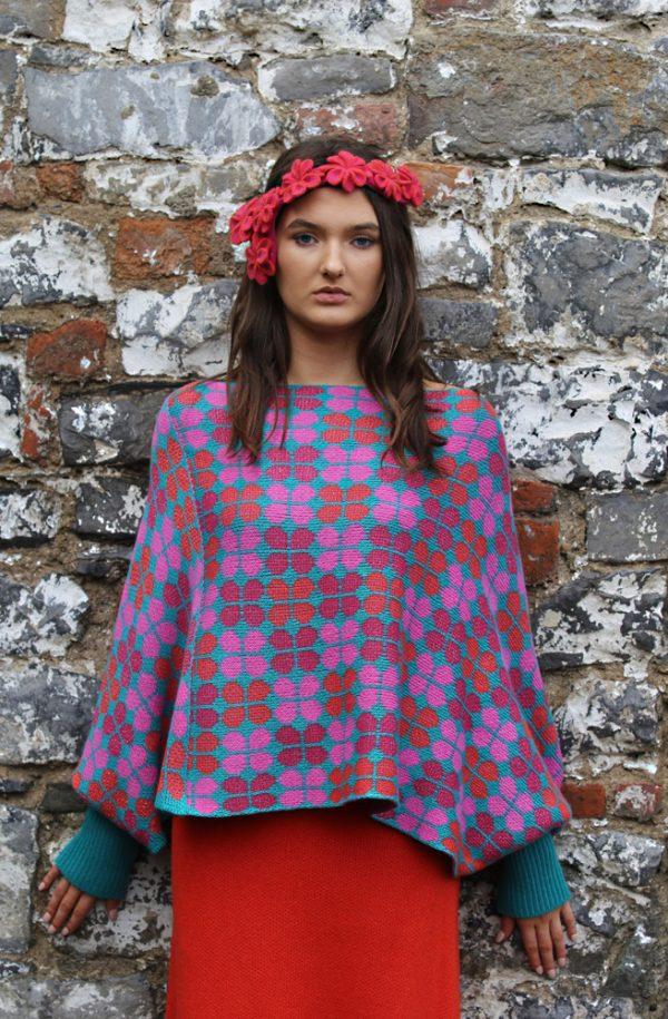 Retro Petal Poncho Style Jumper 2 Linda Wilson Irish Knitwear Designer Limerick
