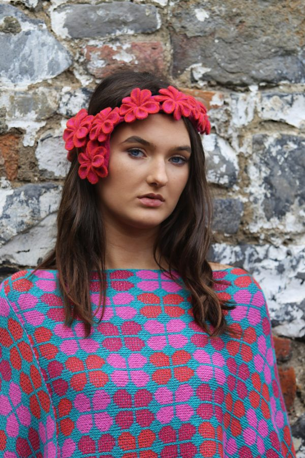 Retro Petal Poncho Style Jumper 3 Linda Wilson Irish Knitwear Designer Limerick