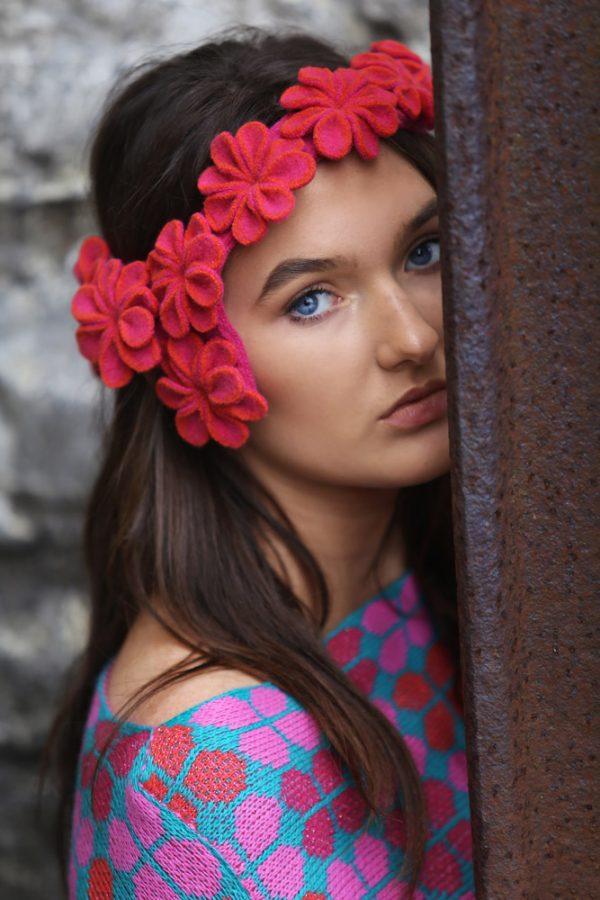 Retro Petal Poncho Style Jumper 4 Linda Wilson Irish Knitwear Designer Limerick