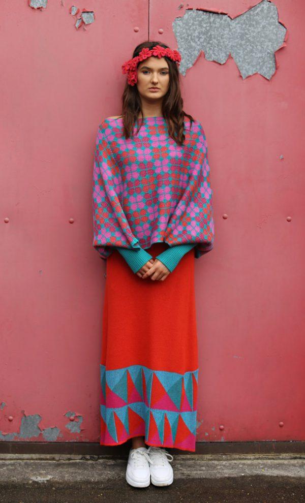 Retro Petal Poncho Style Jumper 5 Linda Wilson Irish Knitwear Designer Limerick