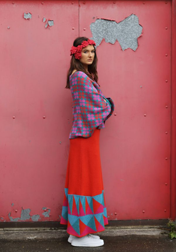 Retro Petal Poncho Style Jumper 6 Linda Wilson Irish Knitwear Designer Limerick