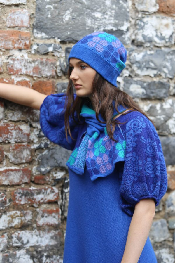 Retro Petal Pull Through Scarf 2 Linda Wilson Irish Knitwear Designer Limerick