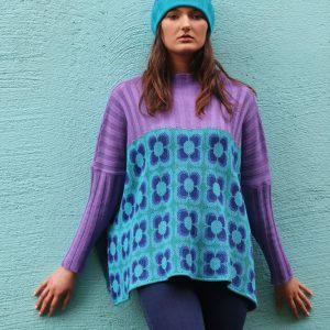 Ribbed Retro Daisy Jumper 1 Linda Wilson Irish Knitwear Designer Limerick