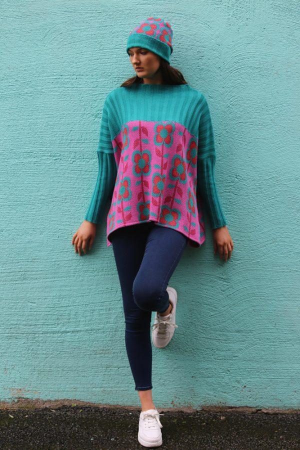 Ribbed Retro Daisy & Leaf Jumper 1 Linda Wilson Irish Knitwear Designer Limerick