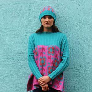Ribbed Retro Daisy & Leaf Jumper 2 Linda Wilson Irish Knitwear Designer Limerick