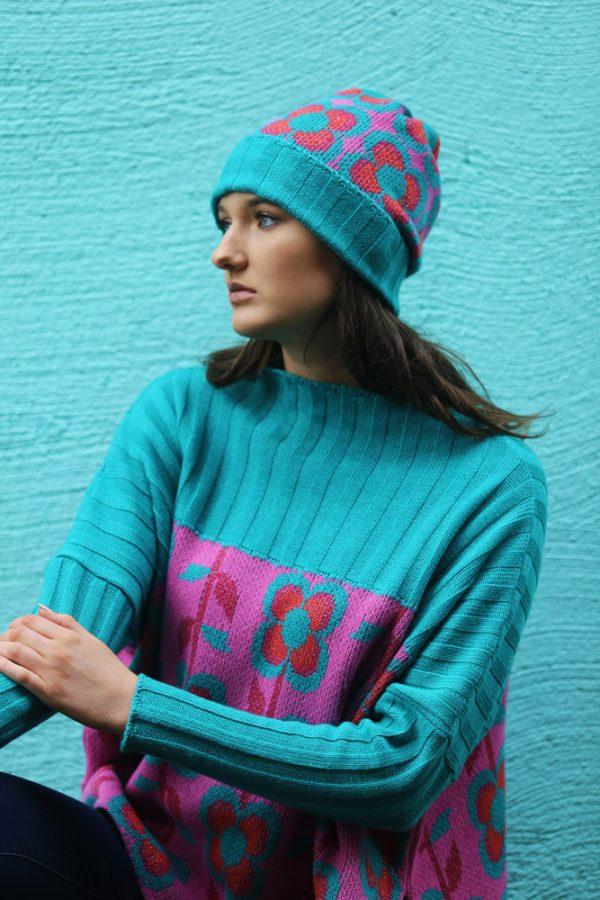 Ribbed Retro Daisy & Leaf Jumper 3 Linda Wilson Irish Knitwear Designer Limerick