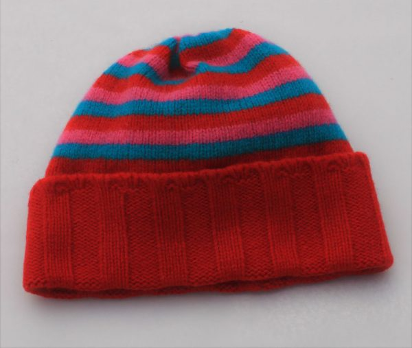 Ribbed Striped Hat HAT1-6 Linda Wilson Childrens Irish Knitwear Designer