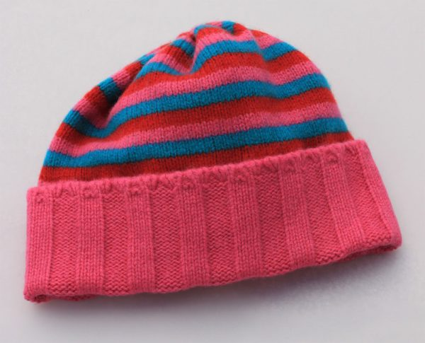 Ribbed Striped Hat HAT1-8 Linda Wilson Childrens Irish Knitwear Designer