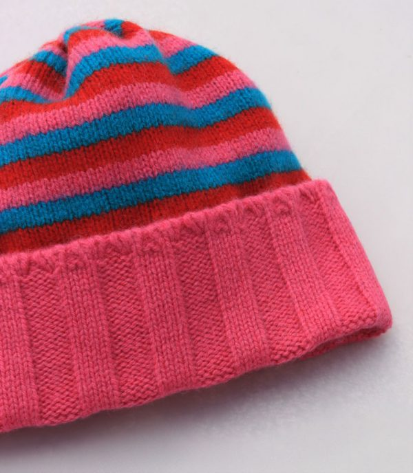 Ribbed Striped Hat HAT1-9 Linda Wilson Childrens Irish Knitwear Designer