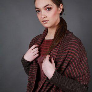 Textured Ridged Loop Scarf AC-LOOPSCF2-1 Linda Wilson Knitwear Irish Designer Limerick