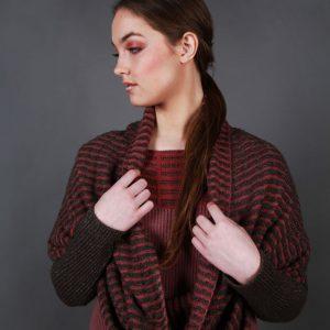 Textured Ridged Loop Scarf AC-LOOPSCF2-2 Linda Wilson Knitwear Irish Designer Limerick