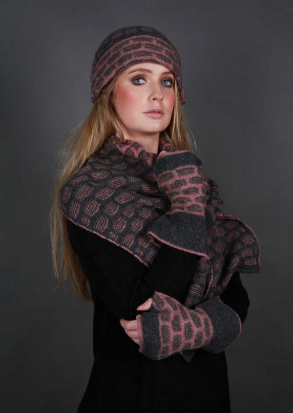 Textured Squares Hat HAT15-1 Linda Wilson Irish Knitwear Designer