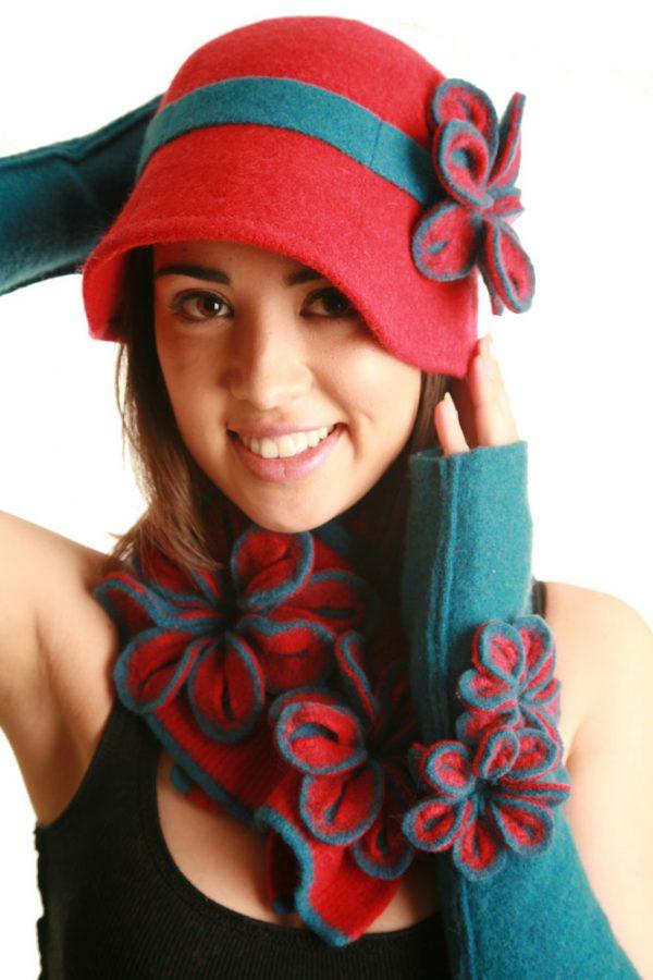 Tie Blossom Scarf SCF2-5 Linda Wilson Irish Knitwear Designer Limerick