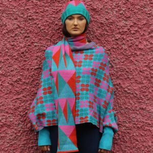 Triangular Pattern Long Scarf 1 Linda Wilson Irish Knitwear Designer Limerick