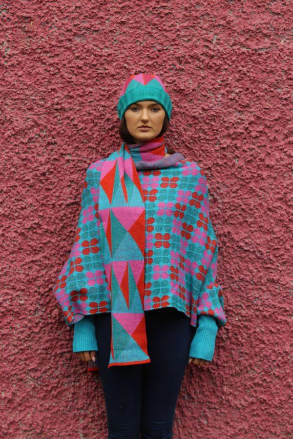 Triangular Pattern Long Scarf 1 Linda Wilson Irish Knitwear Designer Limerick