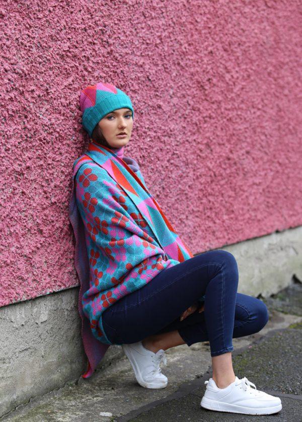 Triangular Pattern Long Scarf 2 Linda Wilson Irish Knitwear Designer Limerick