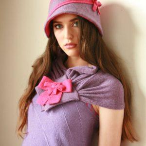 Two Tone Bow Hat HAT11-2 Linda Wilson Irish Knitwear Designer