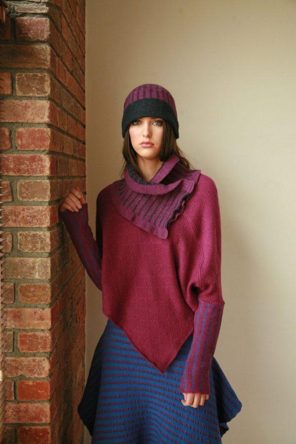 Vertical Striped Hat HAT12-1 Linda Wilson Irish Knitwear Designer