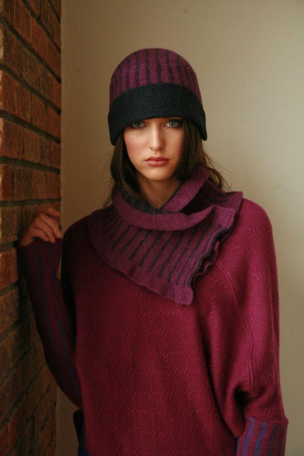 Vertical Striped Hat HAT12-2 Linda Wilson Irish Knitwear Designer