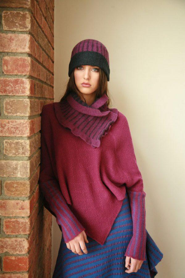 Vertical Striped Hat HAT12-3 Linda Wilson Irish Knitwear Designer